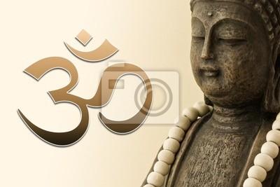 Zen Bouddha Mit Mala Kette Und Om Zeichen 02 Papier Peint Papiers