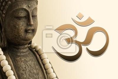 Zen Bouddha Mit Mala Kette Und Om Zeichen Papier Peint Papiers