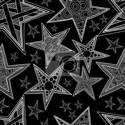 Zentangle Etoiles Seamless Pattern Hand Drawn Fond Noir Et Blanc