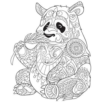 Zentangle stylis panda de bande dessin e isol sur fond blanc papier peint papiers peints - Panda pour coloriage ...