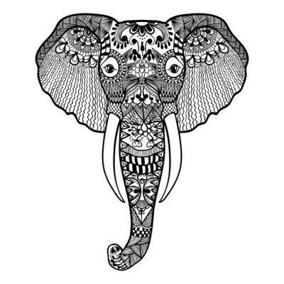 Papiers peints Zentangle stylisée Elephant. Main dentelle Dessiné illustration vectorielle