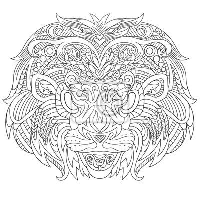 Coloriage Anti Stress Visage.Papiers Peints Zentangle Visage De Bande Dessinee Stylisee De Lion Isole Sur
