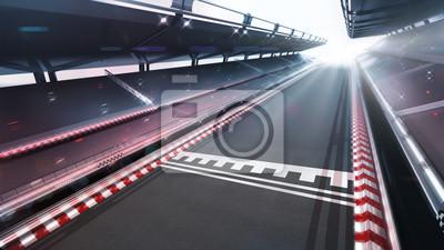 zone d'arrivée de la piste de course avec flou de mouvement et lumières brillantes