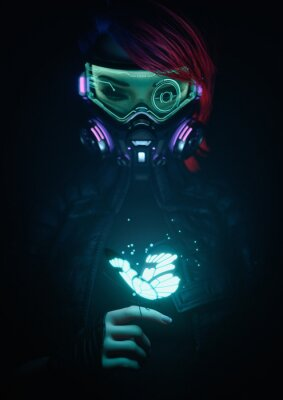 Posters 3d illustration of a cyberpunk girl in futuristic gas mask with protective green glasses and filters in jacket looking at the glowing butterfly landed on her finger in a night scene with air pollution