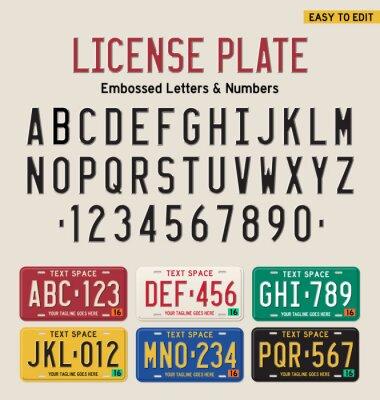 Posters 3d, plaque, plaque, police, licence, plaque, ensemble