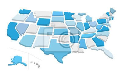 Posters 3d usa map with separated states. Vector illustration