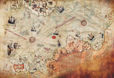 Posters 3D Wallpaper design with an old ship of piri reis map for mural print