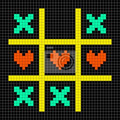 Posters 8 Bits Pixel Art Tic Tac Toe Avec Des Baisers Et Coeur Damour