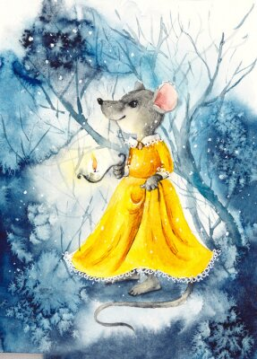 Posters A mouse with a lantern in a yellow dress. Watercolor hand drawn illustration