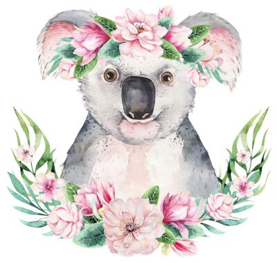 Posters A poster with a koala. Watercolor cartoon koala tropical animal illustration. Jungle exotic summer print.