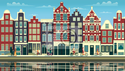 A street in Amsterdam with traditional buildings, walking people and reflections in the water