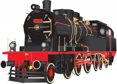 Posters A, vétéran, lourd, vapeur, fret, chemin de fer, locomotive, isolé, blanc