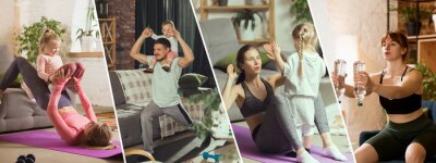 Posters ABS workout with daughter on belly. Young woman exercising fitness, aerobic, yoga at home, sporty lifestyle. Getting active with her child playing, home gym.