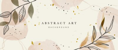 Posters Abstract art botanical background vector . Luxury wallpaper design with women face, leaf, flower and tree  with earth tone watercolor and gold glitter. Minimal Design for text, packaging and prints.