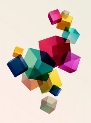 Posters Abstract colorful background with geometric elements