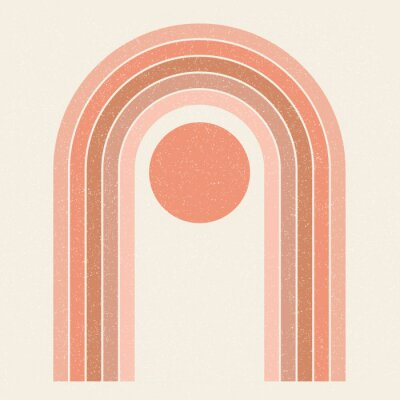 Posters Abstract contemporary aesthetic background with Sun and geometric rainbow gates. Terracotta colors. Boho wall decor. Mid century modern minimalist art print. Organic natural shape. Magic concept.