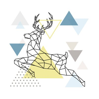 Posters Abstract polygonal deer illustration. Flying Reindeer with side view. Scandinavian style Poster. Vector illustration.