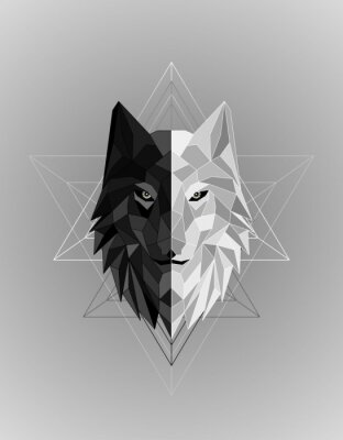 Posters Abstract polygonal wolf head design