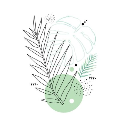 Posters Abstract poster background minimal shapes, watercolor tropical leaf. Art print with doodles, line, blue texture. Tropical illustration for minimalism, hipster, scandinavian design, t-shirt print
