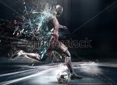 Posters abstract soccer player; 3d illustration