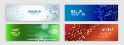 Posters Abstract web design banner. Modern graphic template for websites. High tech futuristic technology background.