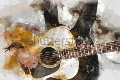 Posters Abstrait belle femme jouant du guitariste au premier plan. Gros plan, fond de peinture aquarelle et pinceau d'illustration numérique à l'art.