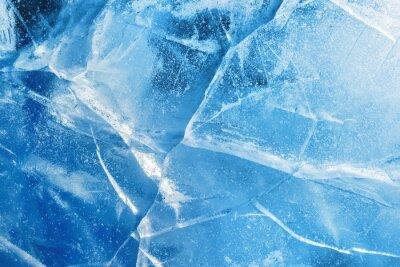 Posters Abstrait glace Fond bleu avec des fissures sur la surface de la glace