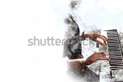 Posters Abstraite belle main jouant au clavier du piano au premier plan Fond de peinture aquarelle et illustration numérique brosse à art.