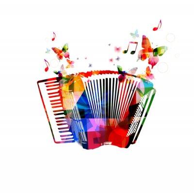 Posters Accordéon coloré. Instrument de musique de fond avec des papillons