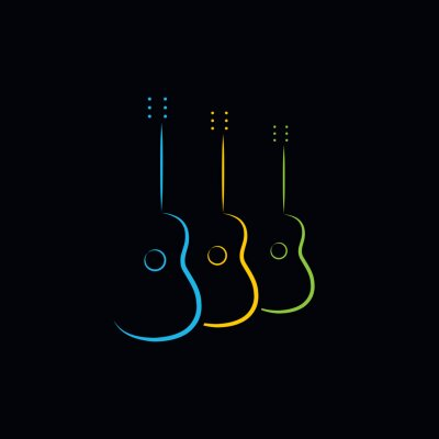 Posters Acoustic guitar design. Illustration logo design of acoustic guitar on black background