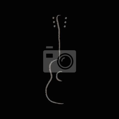 Posters Acoustic guitar design. Illustration logo design of acoustic guitar on gray background