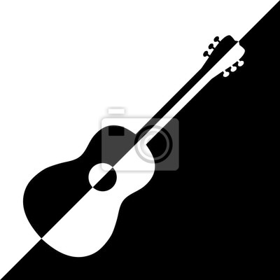 Posters Acoustic guitar design. Illustration logo design of acoustic guitars in black and white variants