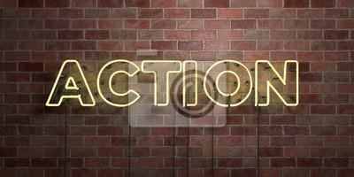 Posters ACTION - fluorescent, néon, tube, signe, briquetage, -, vue, 3D, rendu Peut être utilisé pour les bannières en ligne et les publipostages ..