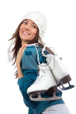 activité de sports d'hiver une patinoire de femme