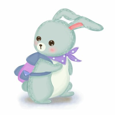 Posters adorable blue bunny illustration for nursery decoration