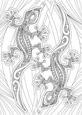 Posters Adult Coloring book - illustration. Set de tatouage: Lizrds. Illustration vectorielle.