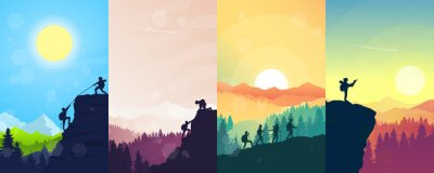 Posters Adventure. Hiking tourism. Travel concept of discovering, exploring, and observing nature. Minimalist graphic flyers. Polygonal flat design for coupons, vouchers, gift cards. Illustrations set.