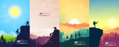 Posters Adventure. Hiking tourism. Travel concept of discovering, exploring, and observing nature. Minimalist graphic flyers. Polygonal flat design for coupons, vouchers, gift cards. Vector illustrations set.
