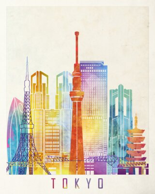 Posters Affiche aquarelle de monuments de Tokyo