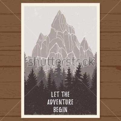 Posters Affiche de forêt sauvage avec montagne; pin, paysage nature, panorama naturel du bois; camping aventure, randonnée, tourisme, modèle de conception; illustration vectorielle dessinés à la