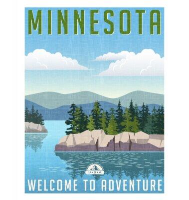 Posters Affiche de Voyage de style rétro ou un autocollant. États-Unis, Minnesota lac pittoresque