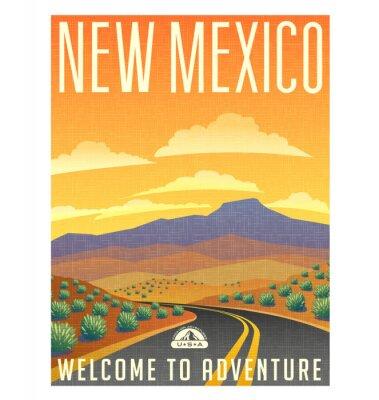 Posters Affiche de Voyage de style rétro ou un autocollant. États-Unis, Nouveau-Mexique paysage de montagne du désert.
