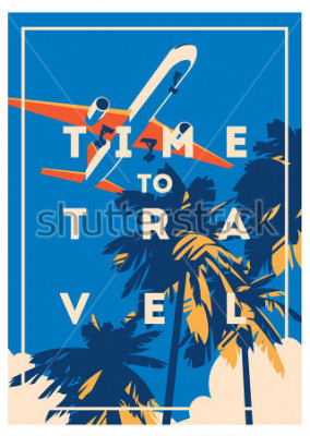 Posters Affiche le temps de voyager et les vacances d'été.
