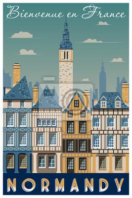 Affiche rétro sur le voyage en Normandie, France. Illustration vectorielle de dessin à la main. Style vintage. Tous les bâtiments - objets différents personnalisables.