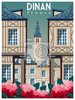 Affiche rétro sur les voyages à Dinan, France. Illustration vectorielle de dessin à la main. Style de dessin animé vintage. Tous les bâtiments - objets différents personnalisables.