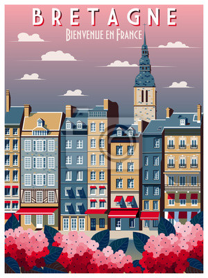 Affiche rétro sur les voyages en Bretagne, France. Illustration vectorielle de dessin à la main. Style vintage. Tous les bâtiments - objets différents personnalisables.