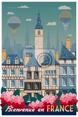 Affiche rétro sur les voyages en France. Illustration vectorielle de dessin à la main. Style vintage. Tous les bâtiments - objets différents personnalisables.