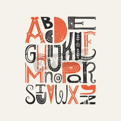 Posters Affiche vintage avec des lettres uniques en alphabet latin. Font vecteur ou typographie.