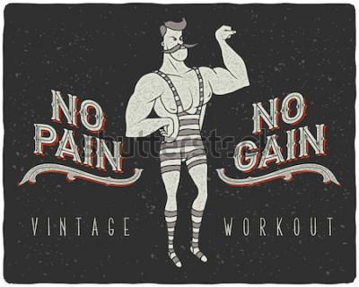 Posters Affiche vintage avec homme fort de cirque et slogan: