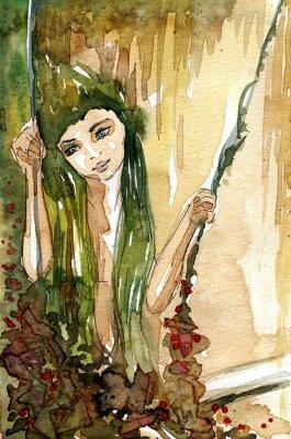 Posters Akwarela dziewczyny na huśtawce
